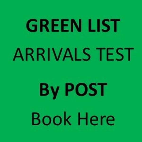 Day 2 GREEN LIST International Arrivals Test by Post (Mandatory)