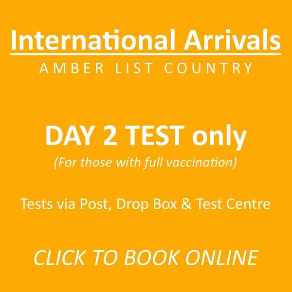 Day 2 ONLY AMBER LIST International Arrivals Test  (Mandatory) - From £45